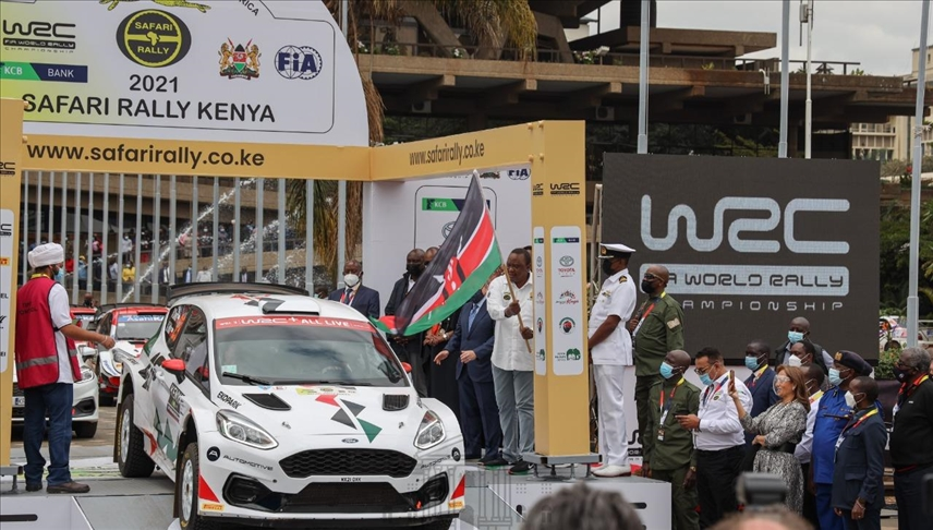 President Uhuru Kenyatta Promotes Kipchoge Running Shoes At Safari Rally Event